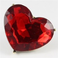 Giant red heart rhinestone ring, adjustable