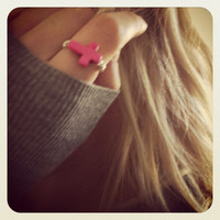 Hot pink stone cross ring with silver plated wire by miskwill