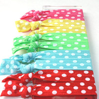 Polka Dot Hair Ties (10) Elastic Fabric No Crease Hair Bands - Emi Jay Like Yoga Hair Ties - Stretchy Summer Hair Tie Accessories