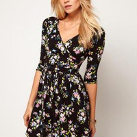 Starry Skater Dress With Ballet Wrap In Floral Print