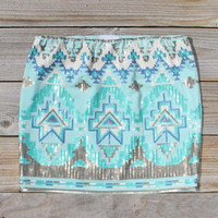 Native Clover Skirt in Mint, Women's Sweet Bohemian Clothing