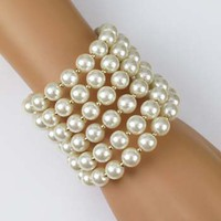 Vintage Inspired Ivory Pearl Bracelet-Fashion Jewelry