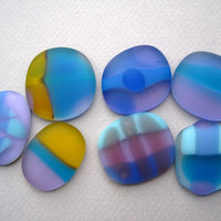 Lavender colorful Glass Stones Worry Stone Lucky Stone Remembrance Jewelry  supply