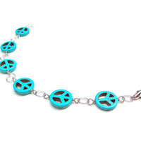 Peace sign bracelet - blue peace sign bracelet - blue and silver bracelet - turquoise peace sign bracelet by Sparkle City Jewelry