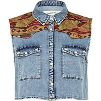 Light wash aztec panel cropped denim shirt - denim shirts - blouses / shirts - women