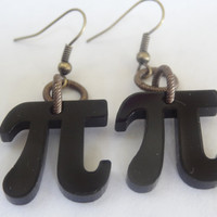 Pi earrings black acrylic charm geekery math