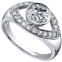 Engagement Ring - Open Eye Diamond Engagement Ring in 14K White Gold - ES1159