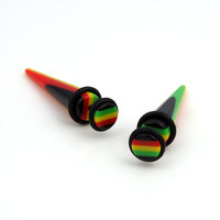 Pair Acrylic Rasta color Fake Ear Plugs Ear Gauges CHEATERS Fake Stretcher Taper