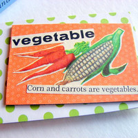 Paper Collage Magnet - Vegetable - Corn And Carrots Are Vegetables - Large Chipboard Decoupage