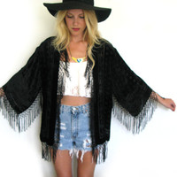 Black Velvet Flower Burnout 20s Style Asian ART DECO Gypsy Boho Fringe Kimono Jacket
