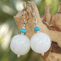 Handmade Earrings White Marble Turquoise Gemstone OOAK Jewelry