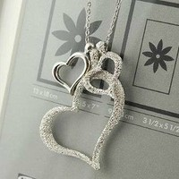 Shopping Princess  3 Heart Silver Rhinestone Necklace
