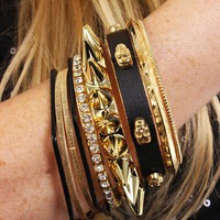 Black Gold Multi Bangle Bracelet Set