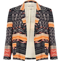 Black tribal patchwork print blazer - blazers  - coats / jackets - women