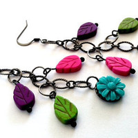Awesome pop of color multi colored stone leaf earrings by Peachykeenthings