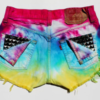 High Waisted Denim Shorts Vintage Levis Cutoffs Dyed Denim Shorts Studded Cutoffs Rainbow