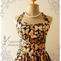 Dress Butterfly Vintage Inspired Halter Neck Garden Inspired Dress Wedding Prom Party Bridesmaid Dress - Once Upon A Time-  Size S-