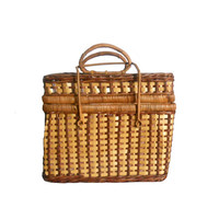 Vintage Wicker Basket Woven Two Toned Picnic or Storage Box with Handles