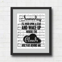 "Somewhere Over the Rainbow Art Print - 8x10"" Wizard of Oz Song Lyrics on Sheet Music Wall Art Print"