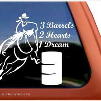 3 Barrels, 2 Hearts, 1 Dream Barrel Racing Horse Trailer Vinyl Window Decal Sticker : Amazon.com : Automotive