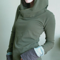 hooded top with extra long sleeves Olive/Cement Grey/Light Smoky Teal