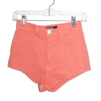 Coral High Waisted Mini Shorts