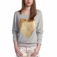 Wildfox Gold Sparkle Heart Baggy Beach Jumper in Warm Rain