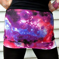 Galaxy Nebula mini Skirt Space festival fashion geek planet