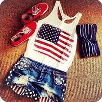 American Flag Muscle Tee