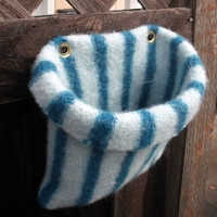 Hanging Felt planter in aquamarine and teal stripes by fiberpuppy