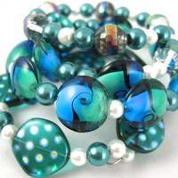 Green Teal Seabreeze Lampwork Handmade Memory wire Bangle Bracelet