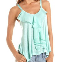 Chiffon Ruffle Knit Tank: Charlotte Russe