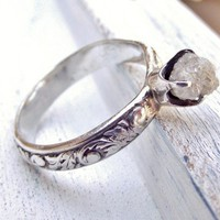 Rustic Rough Uncut Diamond Ring Filigree Sterling Band Size 6 | WestWindCreations - Jewelry on ArtFire