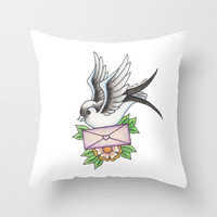 Swallow Traditional Throw Pillow by haleyivers