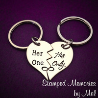Her One, His Only - The Original - Hand Stamped Broken Heart Keychain Set - Couple Key Chain Gift - Wedding, Anniversary or Birthday Present