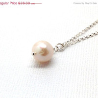 Mothers Day Sale White Pearl Drop Pendant Necklace, Sterling Silver