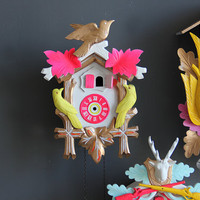 Neon Pink, Green & Gold Cuckoo Clock. Working Condition
