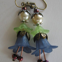 Vintage Style Blue Flower and Pearl earrings by steamheat