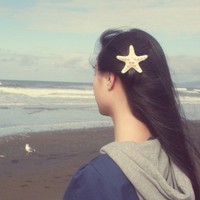 White Starfish Barrette Starfish Hair Clip Beach Wedding Hair Accessories Starfish Hair Accessories Cute Adorable Romantic Whimsical Dreamy