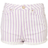 Petite Lilac Stripe Hotpants