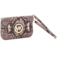 Amazon.com: MICHAEL Michael Kors Fulton Python-Embossed Flat Wristlet, Dark Sand: Everything Else