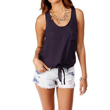 Navy Tie Front Sleeveless Top