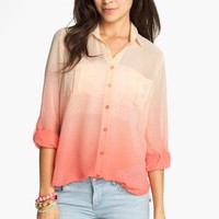 Blu Pepper Ombré Chiffon Shirt (Juniors) (Online Exclusive) | Nordstrom