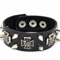 Black leather bracelet with leather ,cross  ,silver Nail tip cuff bracelet jewelry bracelet punk rock bracelet  d-339