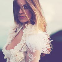 Stunning lace & feather wedding bolero