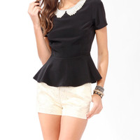 Pearlescent Collar Peplum Top