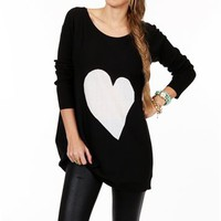 SALE-Black/White Long Sleeve Heart Tunic