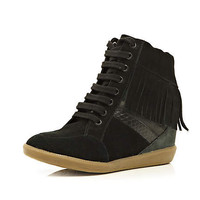 Black contrast panel fringed wedge high tops - high tops - shoes / boots - women