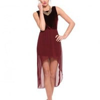 Velvet Hi Low Dress - Burgundy - Clothes | GYPSY WARRIOR