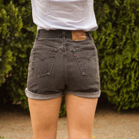 High Waisted Gray Levi Shorts